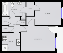 Red Pine - One Bedroom / One Bath - 530 Sq. Ft.*