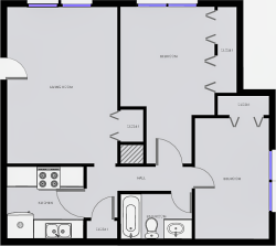 Western Pine - Two Bedrooms / One Bath - 772 Sq. Ft.*