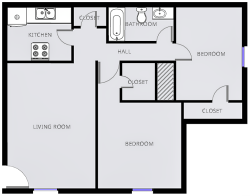 Loblolly Pine - Two Bedrooms / One Bath - 845 Sq. Ft.*